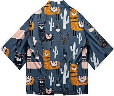 YICHEN Alpaca Japonés Kimono Camisa De Manga 3/4 3D Estampado ...