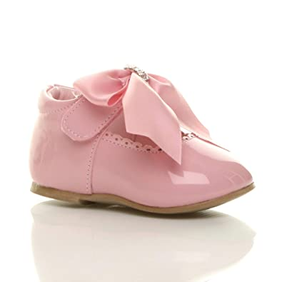 feaf54affc3 Ajvani Girls Infants Ribbon Bow Scalloped Bridesmaid Party Mary Jane Shoes  Size 1 17