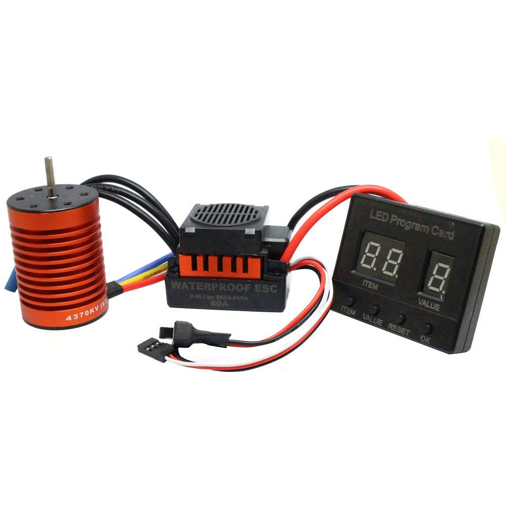 Libison 9T 4370KV Waterproof Brushless Motor New 60A ESC and Digital LED Programming Card Combo For RC Car Truck 50 X 35 X 34mm / 2.0 X1.4 X1.3in