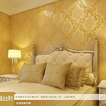 Kontinentale Stereoskopische 3D Geprägtes Vlies Tapeten, Grüne Tapete  Schlafzimmer Wohnzimmer Tapete , Gold (yellow