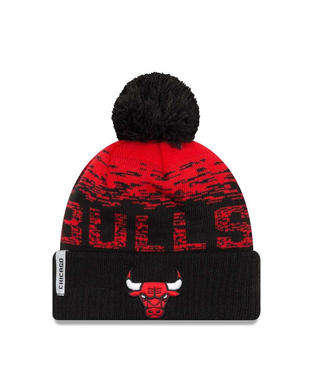Chicago Bulls New Era NBA ''Sport Knit Flect'' Cuffed Hat with Pom