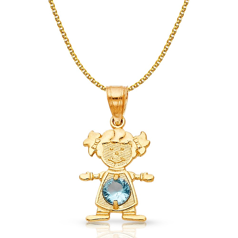 14K Yellow Gold March Birthstone Cubic Zirconia CZ Girl Charm Pendant with 1.2mm Flat Open Wheat Chain Necklace