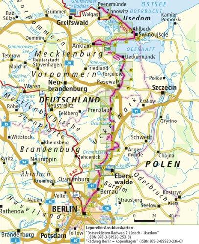 Radweg Berlin Usedom Karte.Radfernweg Berlin Usedom Leporello Radtourenkarte Mit