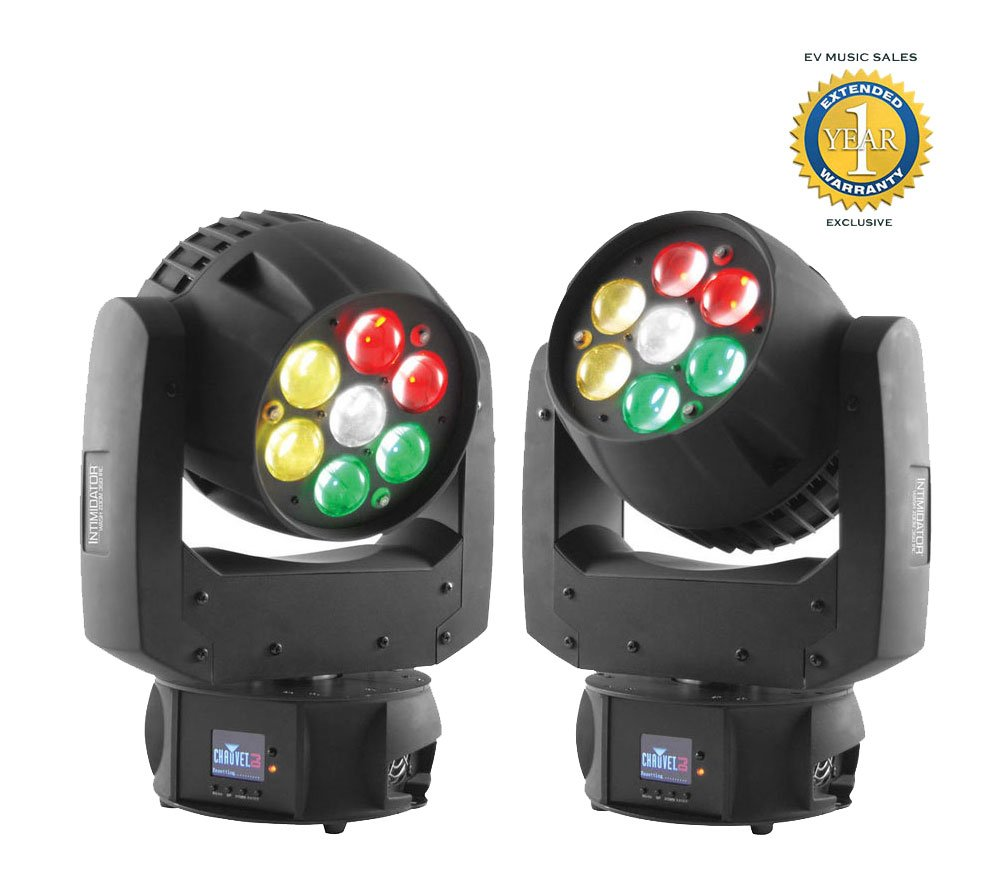 Chauvet Intimidator Wash Zoom 350 IRC LED Moving Head Wash Light Black 2-Pack with 1 Year Free Extended Warranty