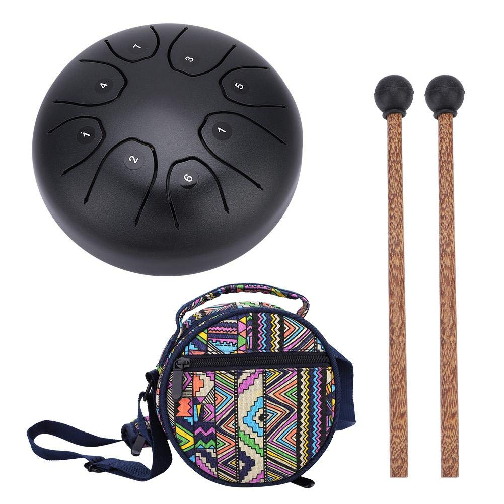 Vbestlife Steel Tongue Drum Hang Drum Tank Drum, Hand Pan Handpan Tongue Tank Drum 5.5 Inch Percussion with 1 Mallets and Carrying Bag (Gold & Coffee)(Coffee)