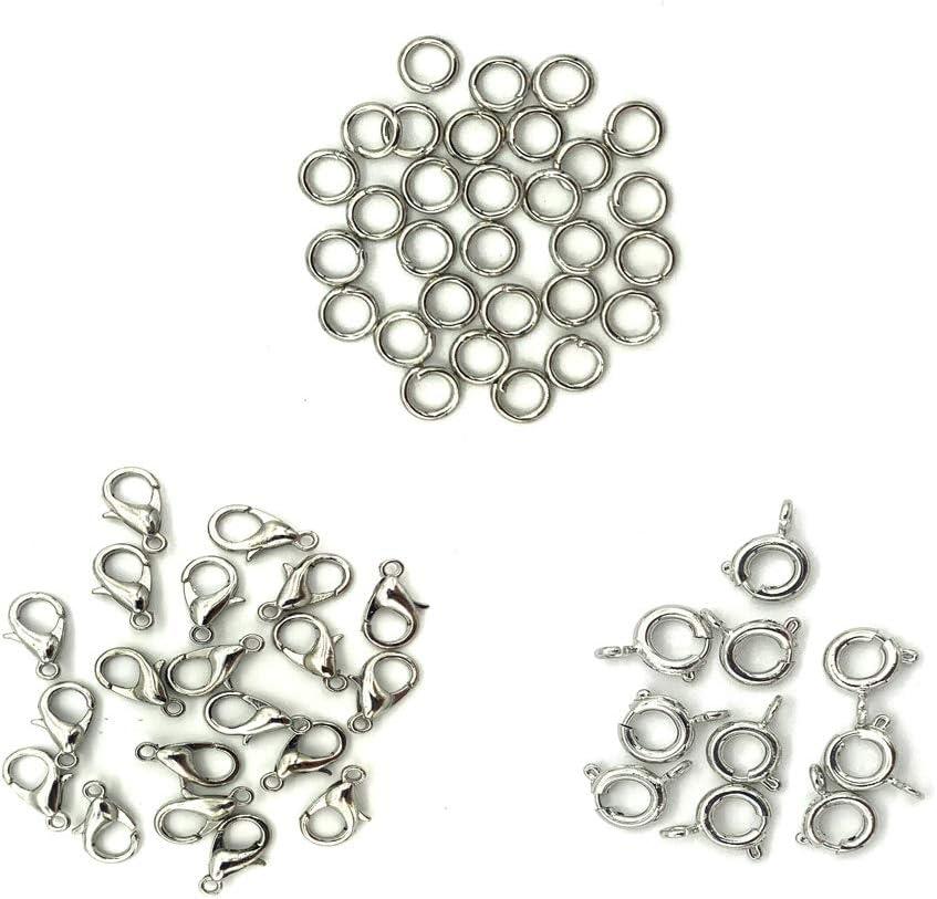 collares y otros accesorios. 10 piezas de cierre de resorte y 30 piezas de anillos de hierro utilizados para pulseras JINXM Cadena de acero inoxidable con 20 piezas de cierre de langosta