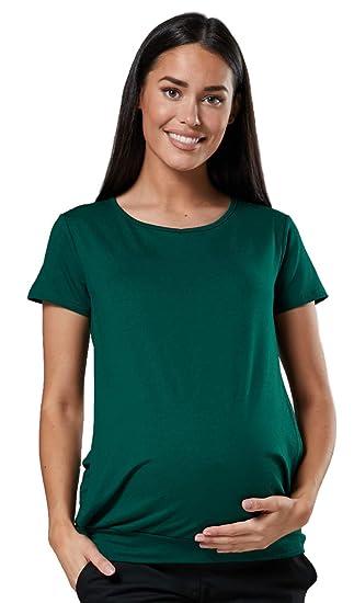 Happy Mama. Damen Umstandsmoden Top Still T-Shirt Lagendesign Kurze rmeln. 436p
