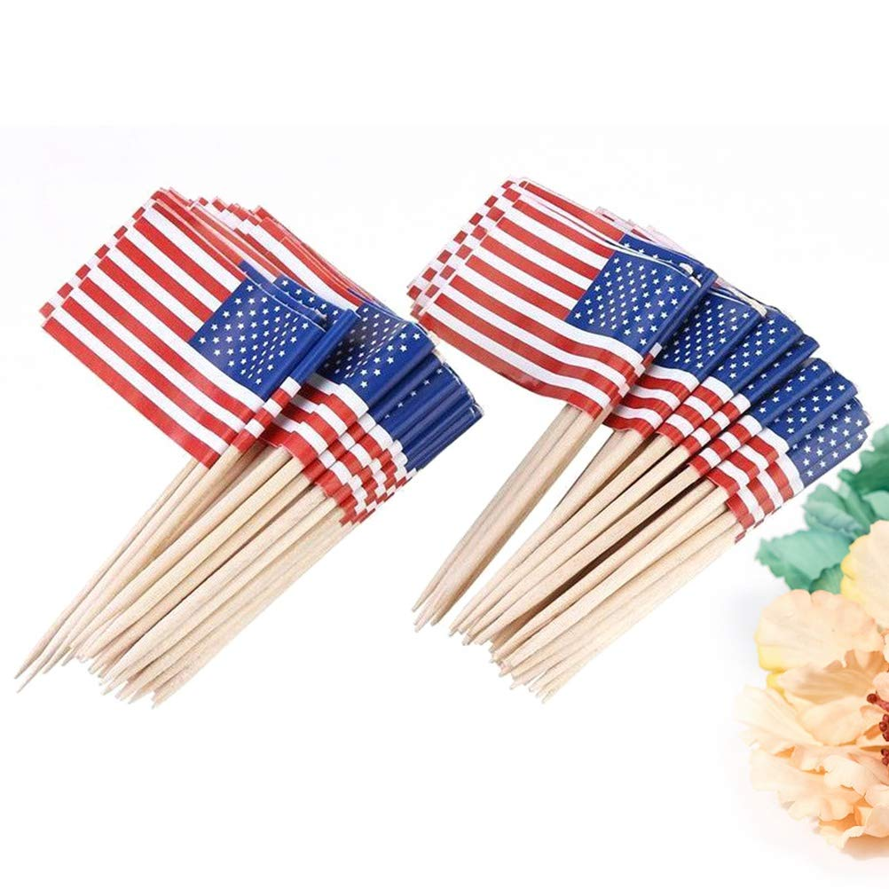 Amosfun 100 unids American Flag Topper Country Flags Palillos de Dientes Cupcake Toppers Fruit Cocktail Sticks Party Supplies