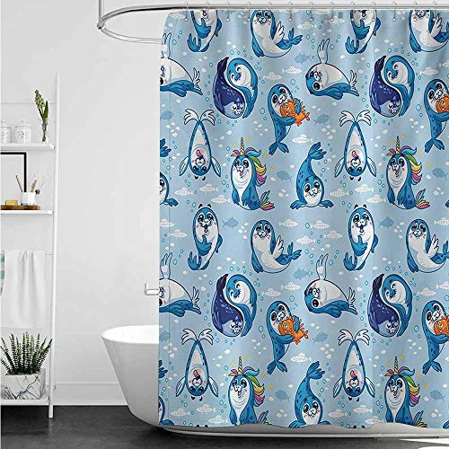 home1love Shower stall Curtains,Sea Animals Seal Pup Cartoon Aquatic Wildlife Friendly Hugging Water Bubbles Kids,Fashionable Pattern,W108x72L,Blue White Marigold