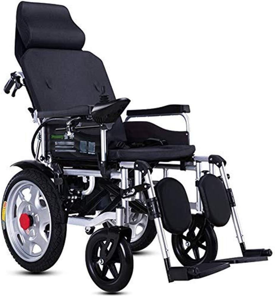 Silla de ruedas eléctrica for los adultos, Silla de ruedas eléctrica for trabajo pesado con el apoyo for la cabeza, la energía eléctrica o la manipulación manual, ajustable del respaldo y del pedal, p