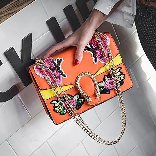 Sacs Petit Sac Main Épaule Mode À Chaîne La Orange À Broderie Oblique Mode Broderie Carré Paquet tpHw7K