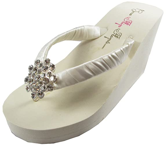 Ultimate Bling Princess Crown Wedge Flip Flops Bride Bridesmaid Wedding Sandals