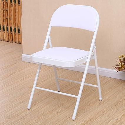 Amazon.com: Lxynb Silla plegable de piel de metal, silla de ...