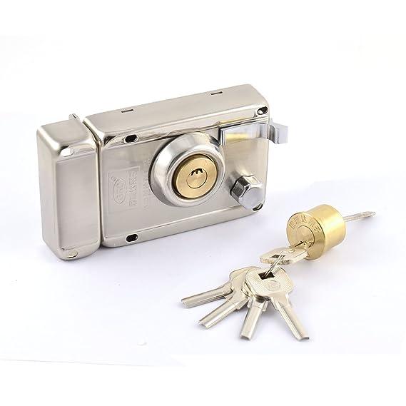 Cerradura de la puerta del hogar eDealMax metal bloqueo doble banda Borde derecho abierto w 5 Claves de la Media Luna - - Amazon.com