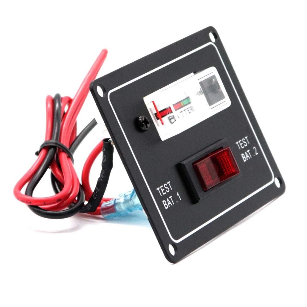 Togethluer Classic Aluminum Battery Test Switch Panel,DC12V Car Vehicle Boat Marine Caravan Dual Battery Switch Panel Test Meter Gauge