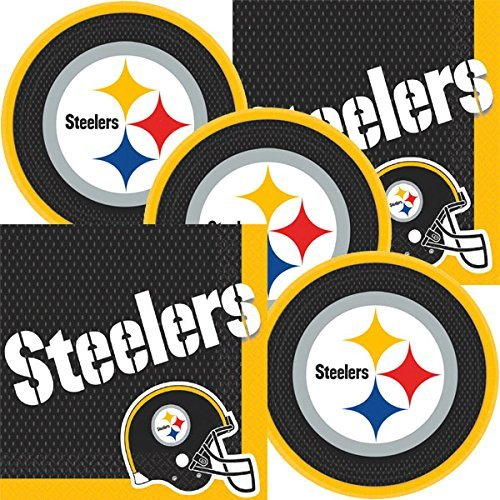 Steelers Party Supplies (Pittsburgh Steelers NFL Football Team Logo Plates And Napkins Serves)