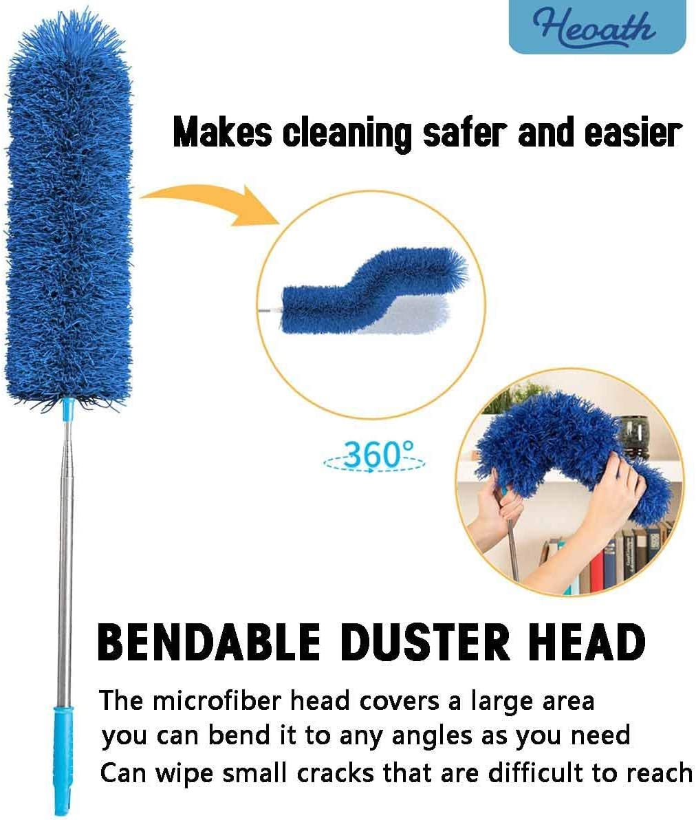 Non-Scratch Blue Extra Long 100 inches Cobwebs Washable Baseboards Ceiling Fan Blinds Bendable HEOATH Microfiber Extendable Duster Hypoallergenic Feather Dusters for Cleaning Roof