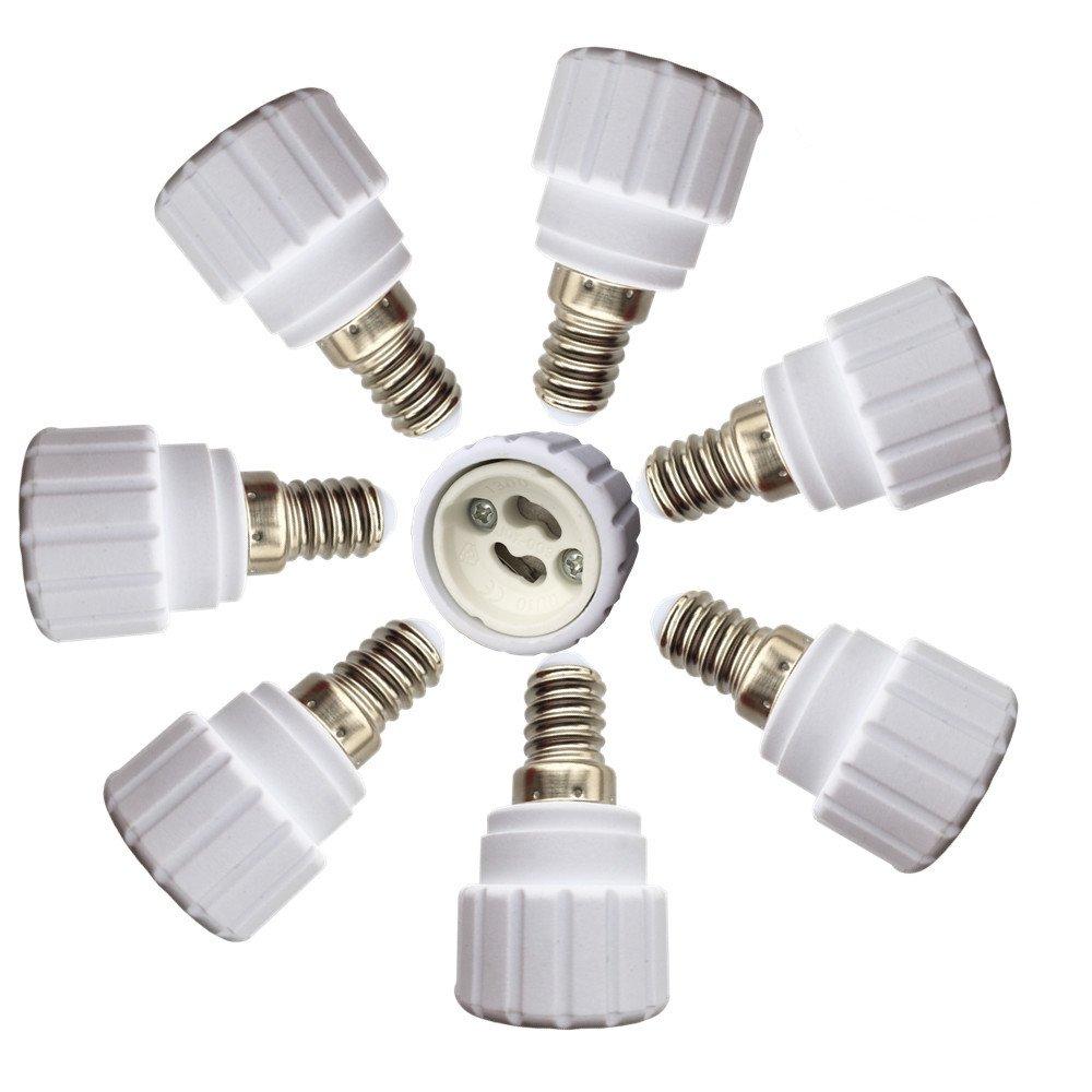 DZYDZR 8 Stück Lampensockel Adapter E14 auf GU10 für LED Lampen-Lampenfassung-Adapter Lampensockel Konverter