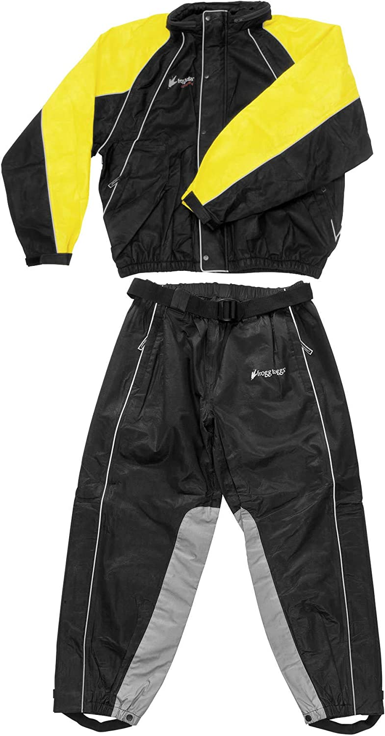 Black//Yellow 2X-Large Frogg Toggs Hogg Togg Mens Street Motorcycle Rainsuit