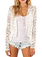 Smss Women's Spring Fashion See Through Lace Open Front Shawl Cardigan White