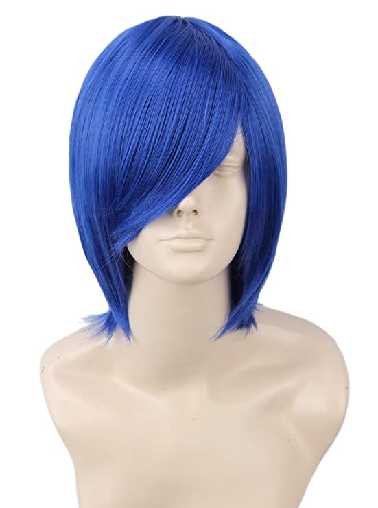 Amazon Com Topcosplay Unisex Halloween Cosplay Coraline Wigs Blue Short Straight Anime Costumes Party Wig Long Bangs Beauty