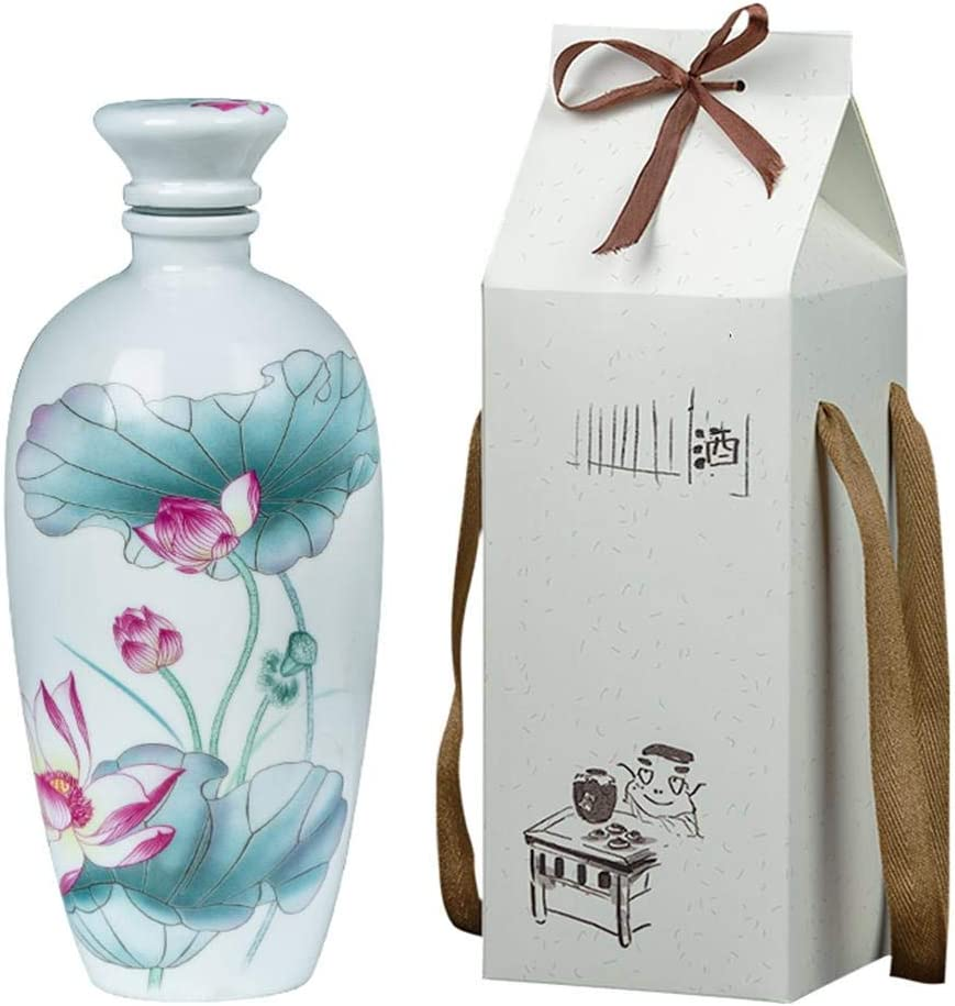 LIANGJIE Botella de vino de cerámica creativa Tang Song Lotus Licor para el hogar antiguo Frasco de cadera 1L Vino blanco Botella de vino vacía Hogar separador de vino artesanal: Amazon.es: Hogar