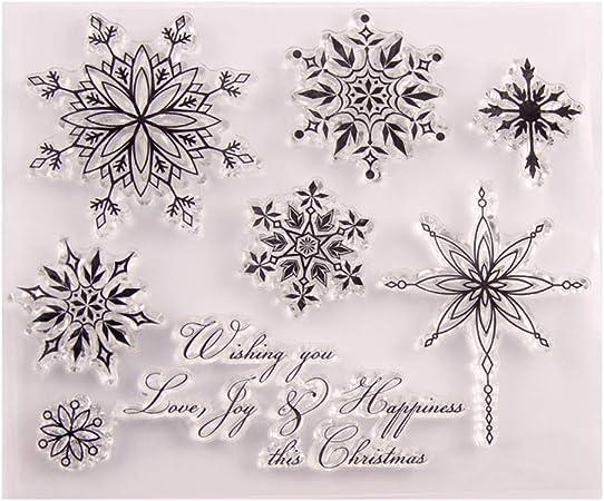 PINH-lang DIY Silicone Trasparente Timbro Fiocco di Neve Timbro per Scrapbooking Album Foto Fai da Te Segno Natale Thanksgiving Regali