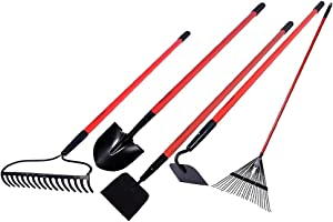 GardenAll Long Handle Garden Tools Set - Include Round Point Shovel /12 Guage Garden Hoe/Steel Rake/Bow Rake/Garden Scraper with Fiberglass Handle-5 Pieces