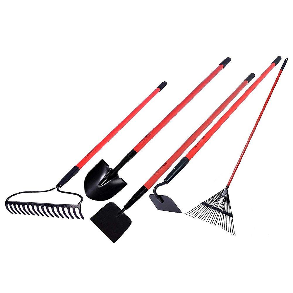 GardenAll Long Handle Garden Tools Set - Include Round Point Shovel /12 Guage Garden Hoe/Steel Rake/Bow Rake/Garden Scraper with Fiberglass Handle-5 Pieces by GardenAll