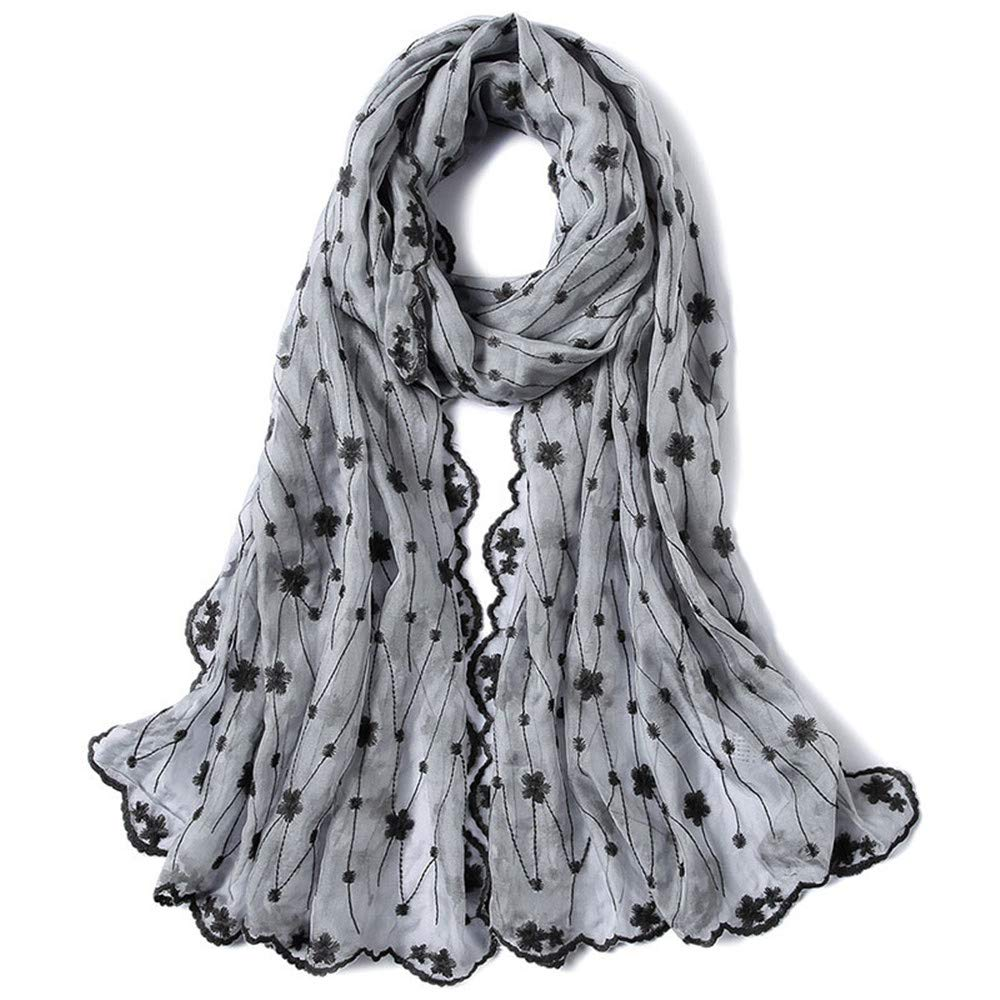 Gift Women's Classic Silk Scarves Silk Embroidered Fabric Gift Towel Embroidery Flower Lady Grey