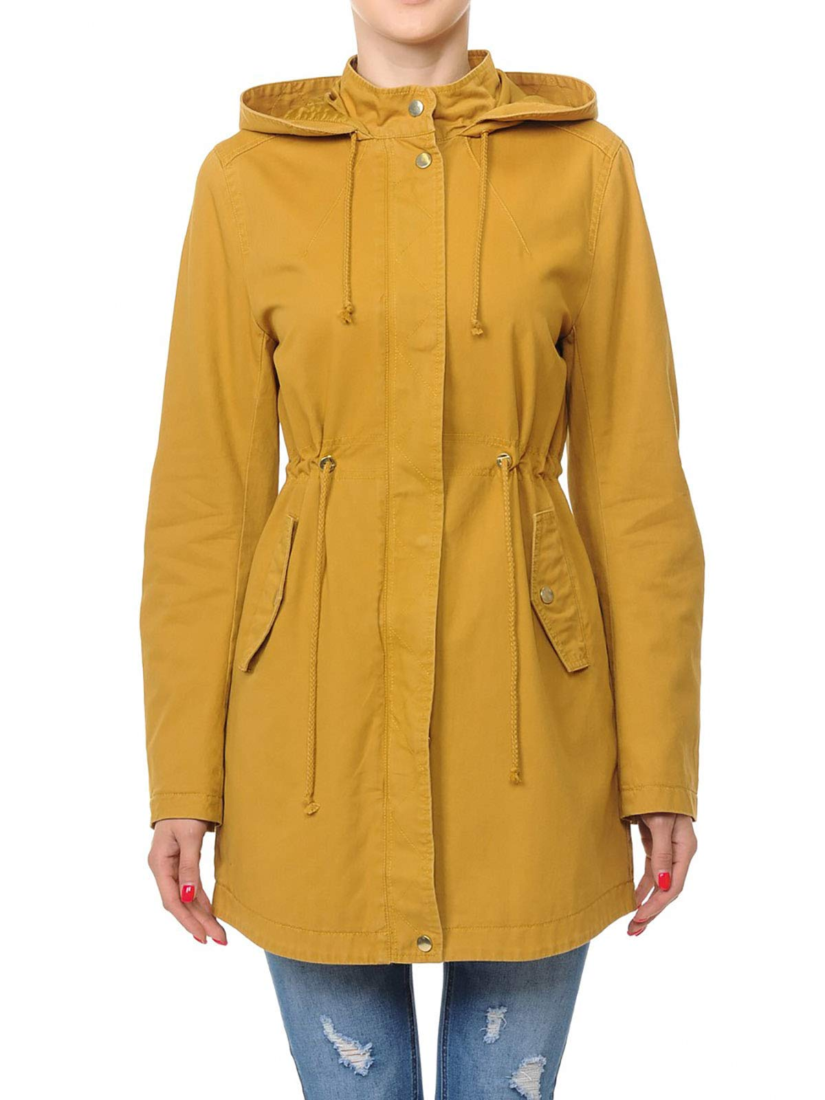 Instar Mode Women's Trendy Cotton Oversized Hooded Anorak Jacket Olive L by Instar Mode (Image #4)
