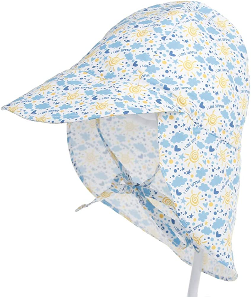 Foldable Beach Travel Flap Hat with Adjustable Straps Quick Dry Sunhat for Girls Boys Baby Toddler iClosam Kids Sun Hat UPF 50 6 Months-5 Age