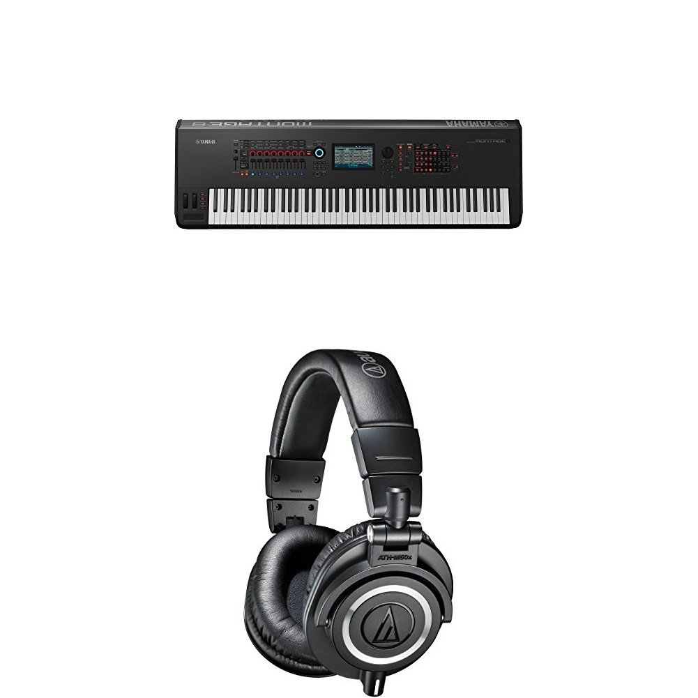Yamaha Montage8 Synthesizer Workstation and M50x Professional Monitor Headphones, Black by Yamaha PAC