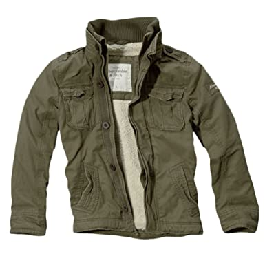 Abercrombie Men's Blake Peak Sherpa Military Jacket Coat