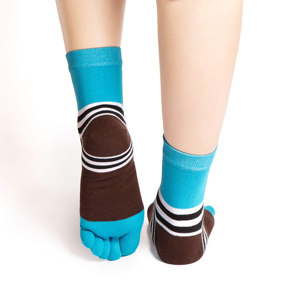 2# shengyuze Cotton Athletic Socks Fashion Stripe Five Toes Design Soft Breathable Cotton Mens Casual Sport Socks