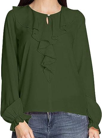 Blusas con Volantes Mujer Blusa Manga Larga Camisas Señora ...