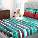 SPACES Bohochic Aqua 210 TC Cotton King XL Bed sheet With 2 Pillow Covers