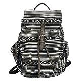 FanCarry Women's Girls Canvas Backpack Purse Shoulder Bag Drawstring Rucksack Casual Daypack for School Travel Sports (Tribal-Black)