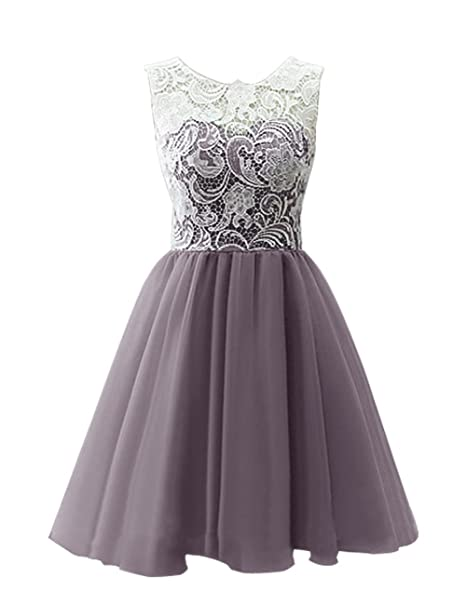 e9997d36c0cf MicBridal Flower Girl / Adult Ball Gown Lace Short Prom Dress Gray US2