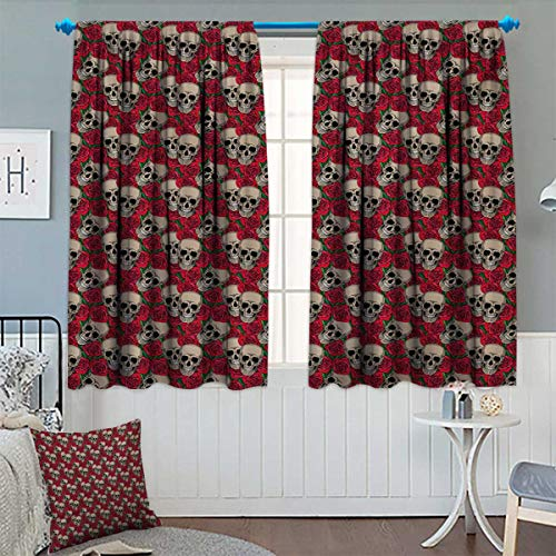 Anhounine Rose,Blackout Curtain,Graphic Skulls and Red Rose Blossoms
