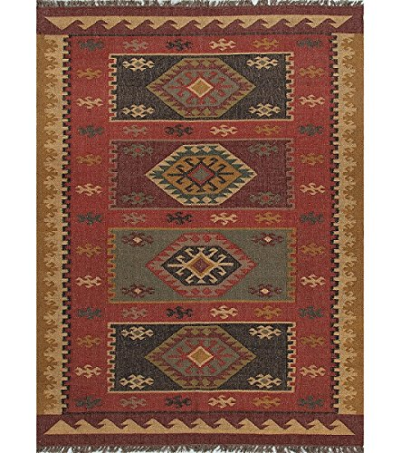 Diva At Home 2' x 3' Escorpion Aves Red, Gold and Black Tribal Hand Woven Reversible Jute Area Throw Rug