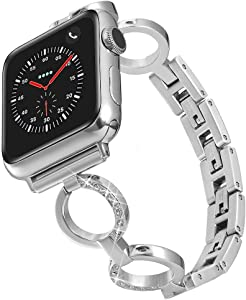 RABUZI Compatible for Apple Watch Band Series 5/4 44mm/40mm,iWatch Series 3/2/1 42mm 38mm,Women Bling Rhinestone Bracelet with Removable Stainless Steel Metal Buckle Replacement band(Silver,42mm 44mm)
