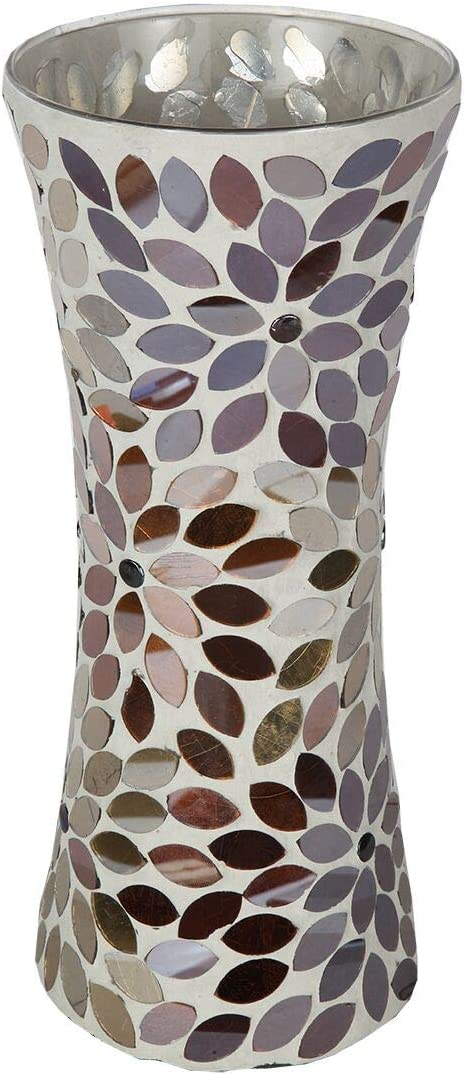 Lily s Home Colorful Mosaic Glass Flower Vase for Flower Centerpieces. 11.5 Inch Tall Silver Gold