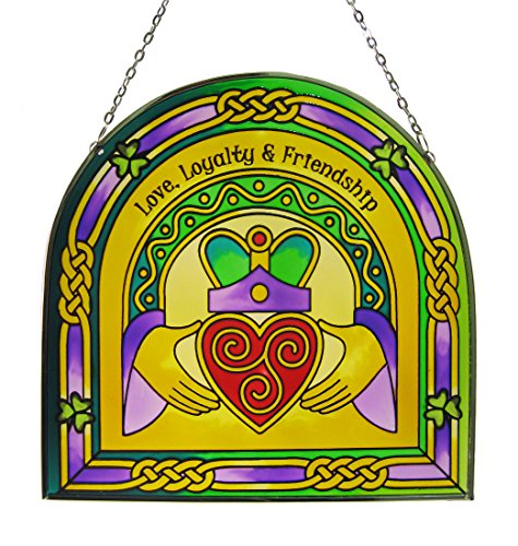 Royal Tara 16cm Stained Glass Hanging Decoration with Claddagh and Triskele Design