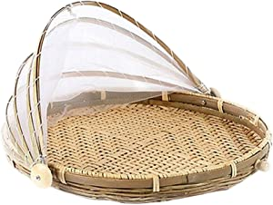 16'' Natural Bamboo Handwoven Food Serving Tent Basket, Fruit Vegetable Bread Cover Storage Container Outdoor Picnic Food Cover Mesh Tent Basket