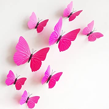 Amazoncom  MLM PCS D Monochrome Butterfly Wall Stickers With - Butterfly wall decals 3d