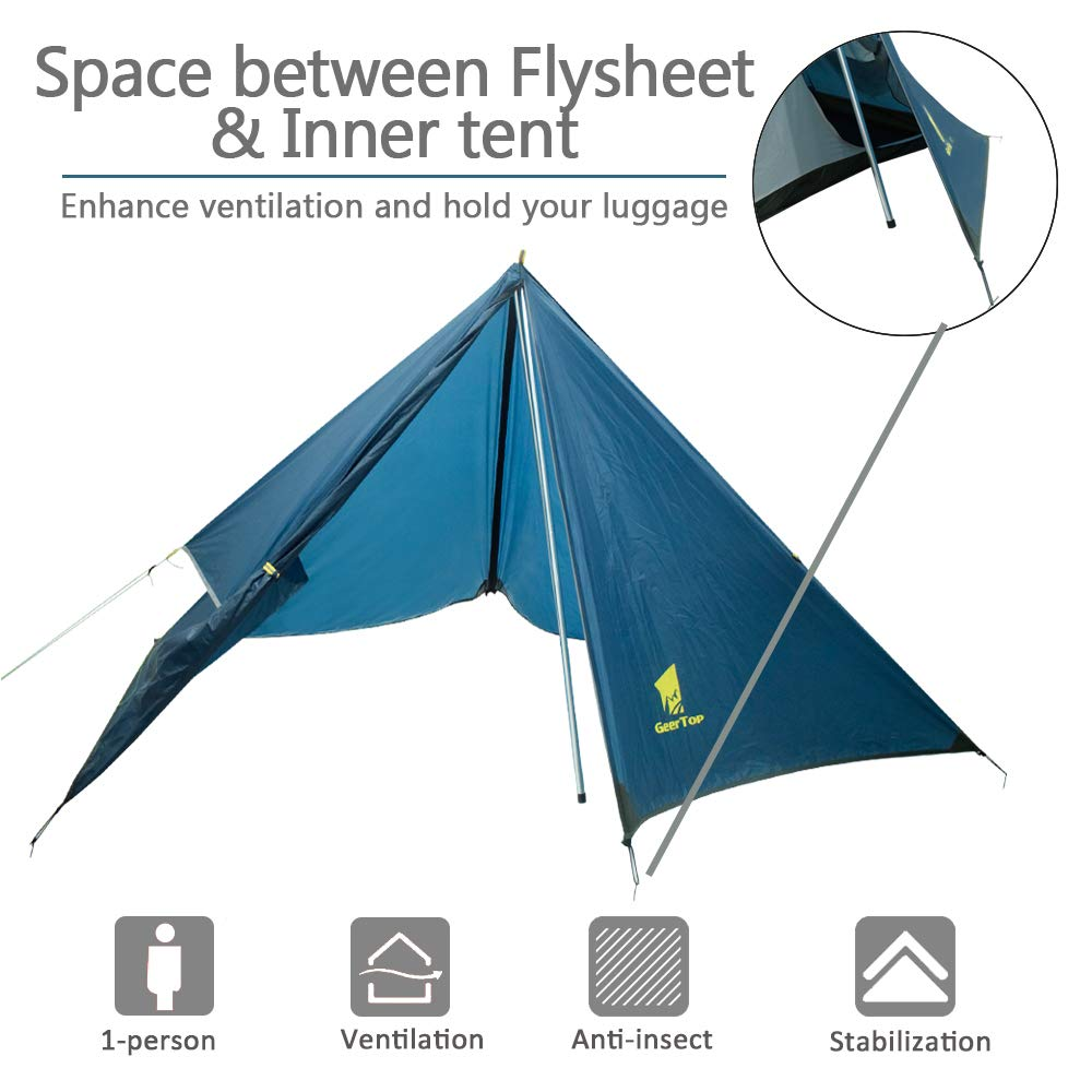 Quick to Set Up WUGANINB4S Geertop 1 Person Backpacking Tent Waterproof 4 Season Camping Tent Lightweight Single Tent for Camping Hiking Mountaineering Travel