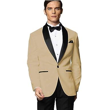 limpid in sight exquisite design big clearance sale MY'S Men's Custom Made Groomsman Tuxedo Khaki Suit Black ...