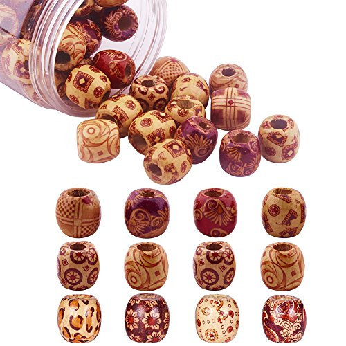 Pandahall 50pcs Assorted Painted Drum Round Wood Beads Large Hole Beads Barrel Wooden Beads Loose Spacer Slider Charms 0.6inch Diameter for Jewelry Bracelet Making Hole 0.3
