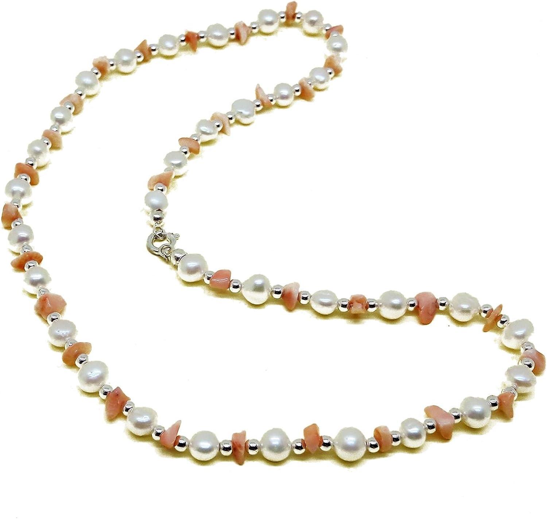 El Coral Collar Perlas Blancas, Chips Rosa y Bolitas Plateadas alternadas